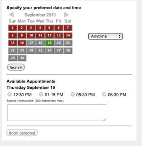 Salon Organic Appointment Calendar